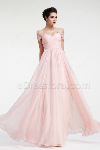 Soft Pink Off the Shoulder Prom Dresses