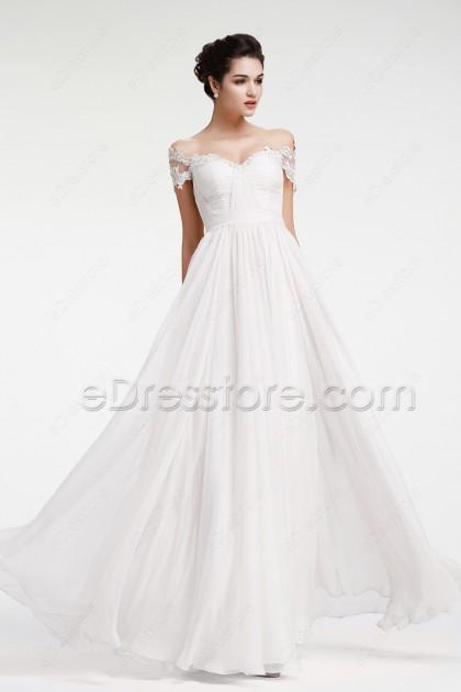 Off the Shoulder Chiffon Beach Wedding Dress