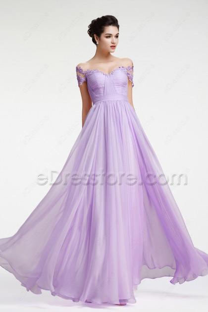 Lavender Off the Shoulder Evening Dresses Pageant Dresses