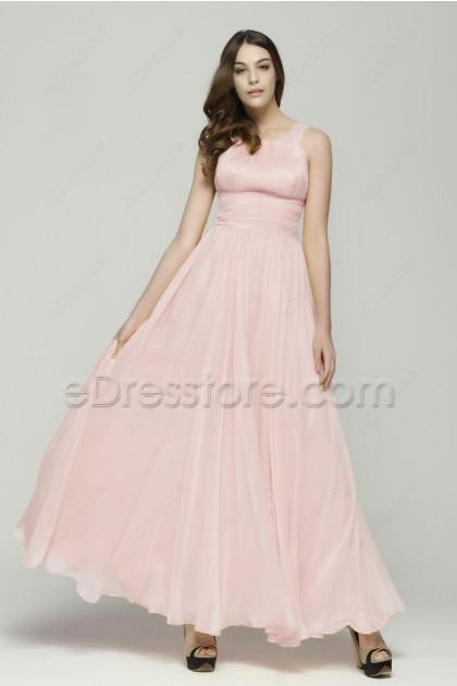 Light Pink Chiffon Long Bridesmaid Dresses