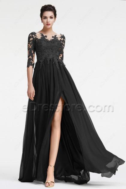 Black Long Sleeve Prom Dress With Slit