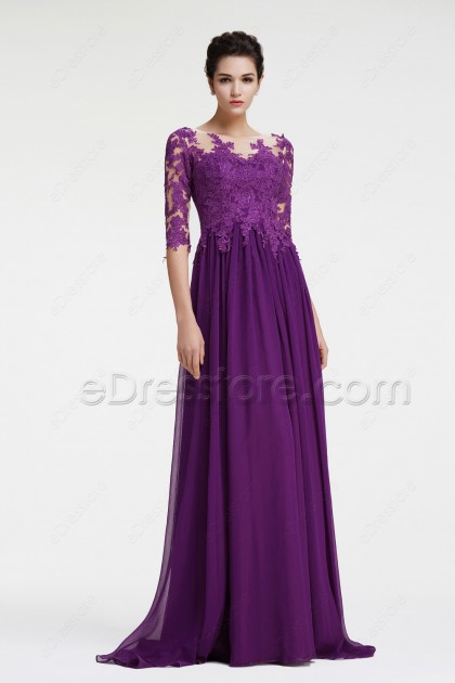 Elegant Lace Purple Mother of the Bride Dress with Sleeves