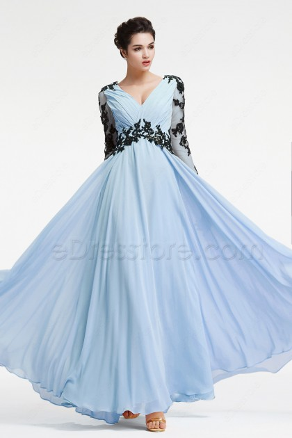 Light blue plus size mother of the bride dress long sleeves