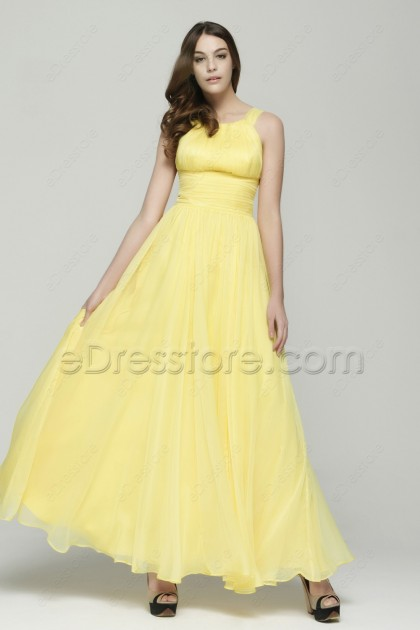 Soft yellow flowing chiffon formal drsses