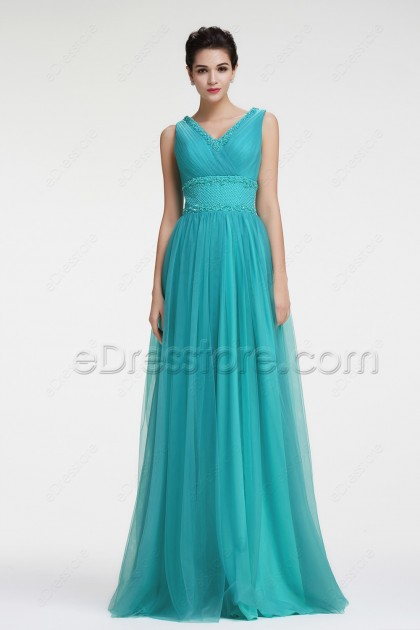 Beaded Turquoise Prom Dresses Long