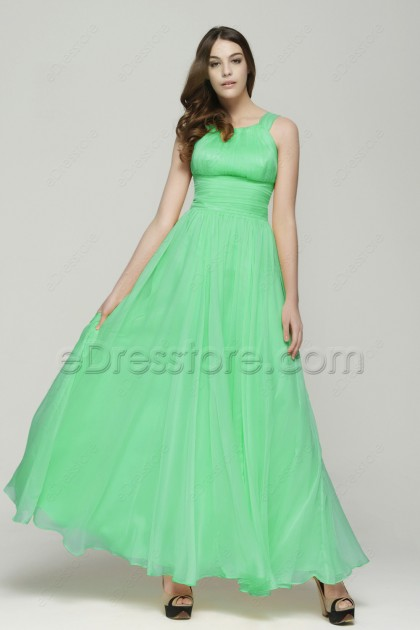 Elegant Green Long Chiffon Prom Dresses