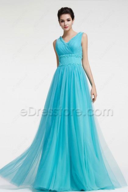 Beaded V Neck Blue Evening Dress Long Prom Dress Plus Size