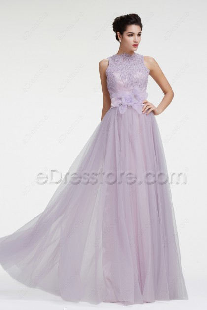 Dusty Lavender Modest Lace Prom Dresses