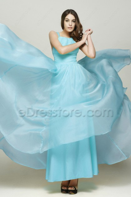 Elegant Sky Blue Flowing Chiffon Prom Dress Long