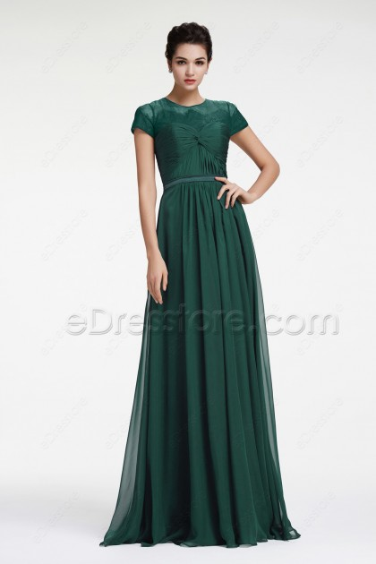Forest Green Modest Evening Dress with Sleeves Plus Size Formal Dress