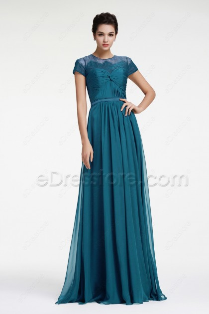 Teal Maid of Honor Dresses with Sleeves Bridesmaid Dresses