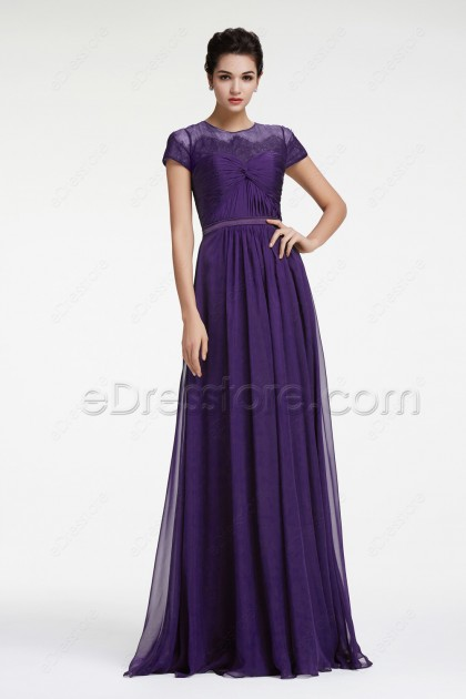Dark Purple Mother of the Bride Dress with Short Sleeves