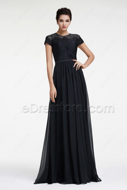 Black Elegant Long Evening Dresses Plus Size
