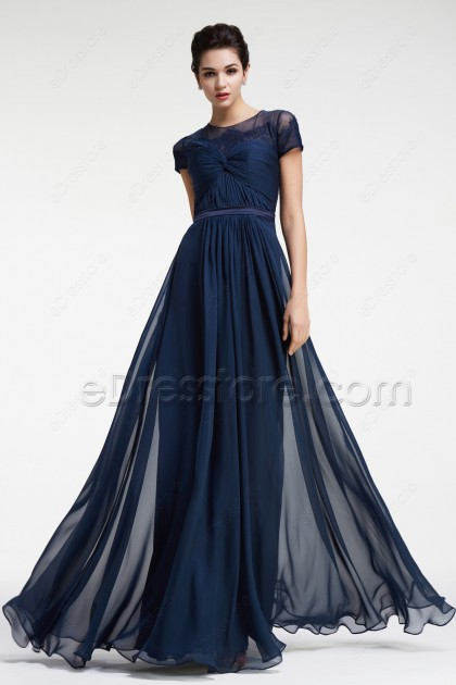 Modest Navy Blue Prom Dresses with Sleeves