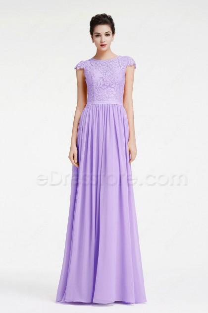 Light Lavender Modest Prom Dresses Long
