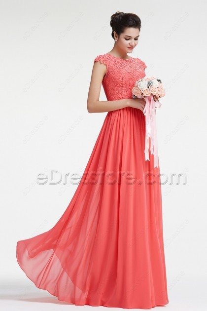 Lace Coral Bridesmaid Dresses with Sleeves