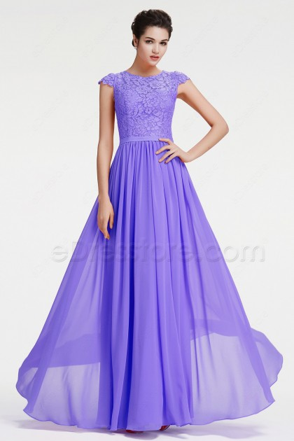 Lavender Modest Formal Dresses Plus Size Evening Dress