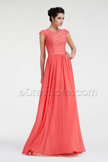 Lace Chiffon Modest Coral Bridesmaid Dresses Cap Sleeves