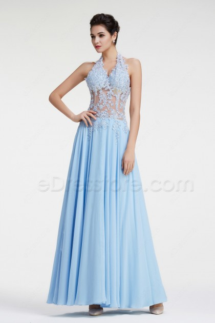 Ice Blue Halter See Through Lace Prom Dresses