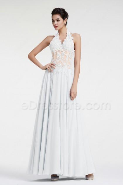 Halter See Through Lace Beach Wedding Dress