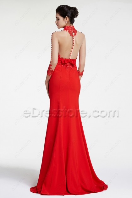 Red Mermaid Backless Prom Dresses with Buttons