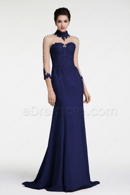 Navy Blue Mermaid Backless Prom Dress Long Sleeves