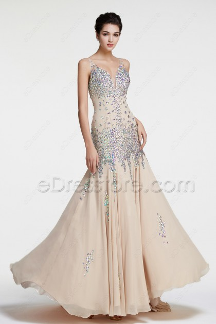 Champagne Mermaid Crystals Sparkly Prom Dresses Long
