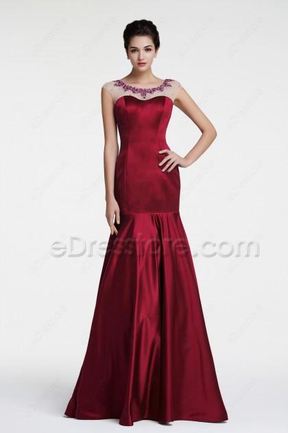 Modest Mermaid Beaded Burgundy Prom Dress