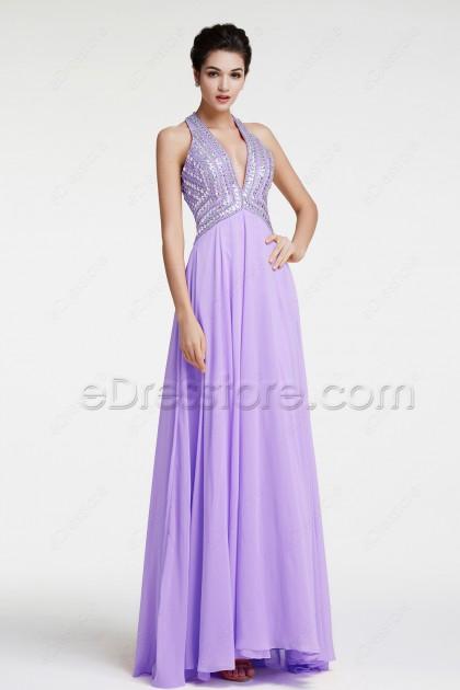 Lavender Backless Crystals Prom Dresses Long Evening Dresses