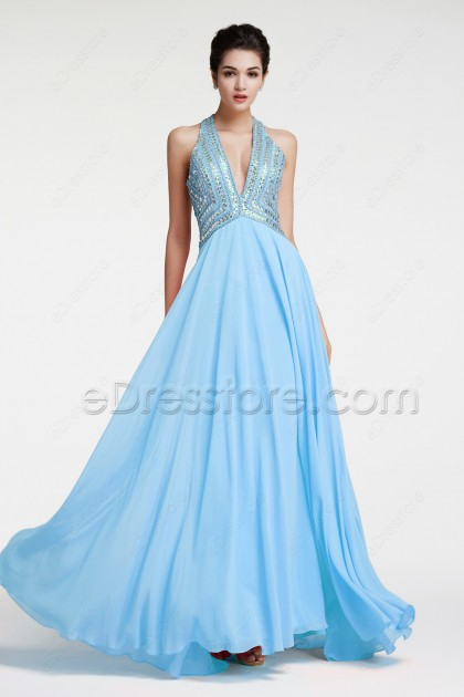 Light Blue Sparkly Backless Prom Dresses Long