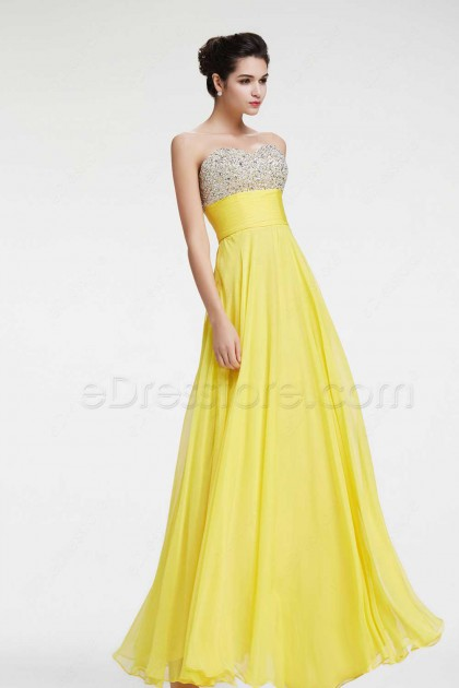 Yellow Beaded Sparkly Prom Dresses Flowing Pageant Dresses