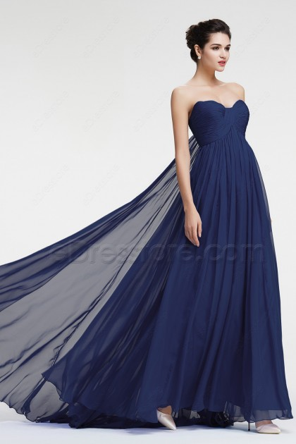 Navy Blue Prom Dresses Empire Waist Formal Dresses