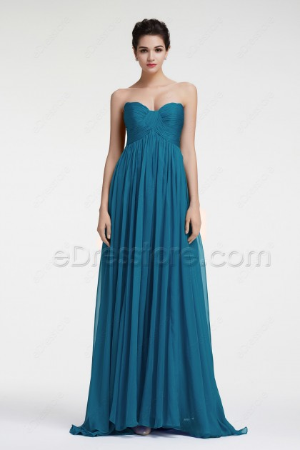 Teal Elegant Evening Dresses Long