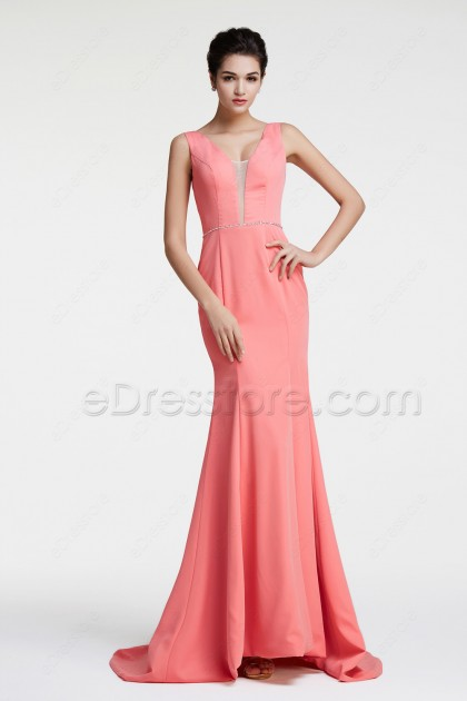 Coral Mermaid Backless Prom Dresses Long