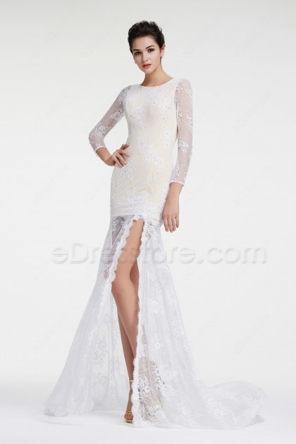 White Lace Backless Prom Dresses Long Sleeves