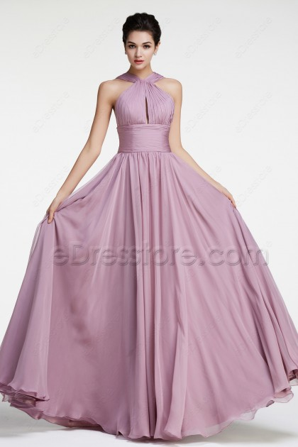 Wisteria Purple Halter Bridesmaid Dresses Long