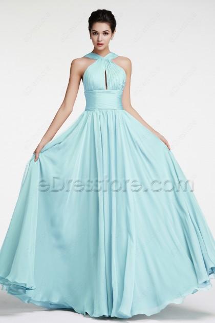 Light Blue Flowing Chiffon Long Prom Dresses