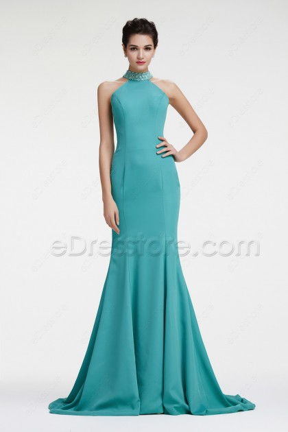 Dusty Green Halter Mermaid Backless Prom Dresses Evening Dress