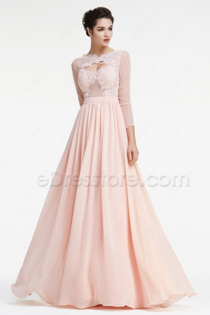 Peach Lace Prom Dresses Long Sleeves Evening Dress