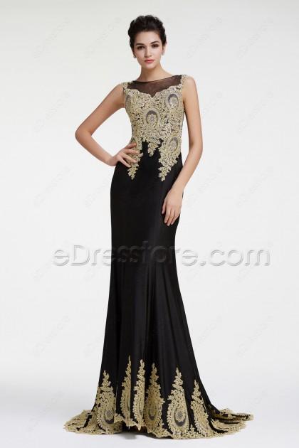Black Mermaid Sparkly Pageant Dresses Prom Dress