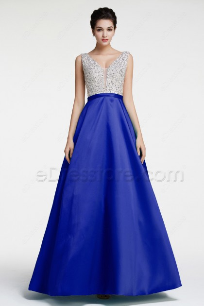 Royal Blue Beaded Sparkly Prom Dresses Long