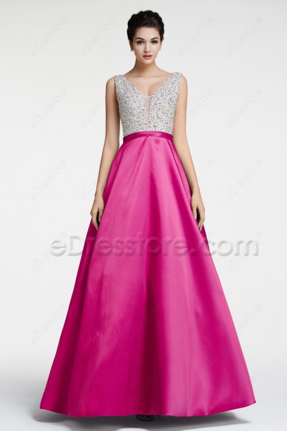 Beaded Crystal Hot Pink Evening Dresses