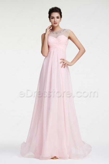 Crystals Light Pink Prom Dresses Capped Sleeves