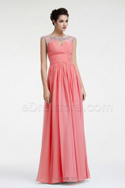 Beaded Coral Bridesmaid Dresses Maid of Honor Dress