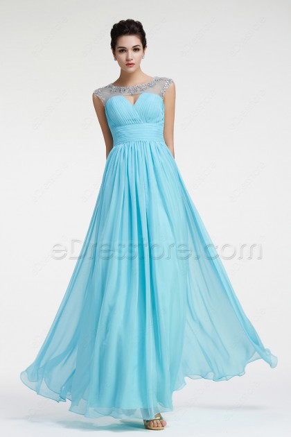 Light Blue Crystal Prom Dresses Long with Cap Sleeves