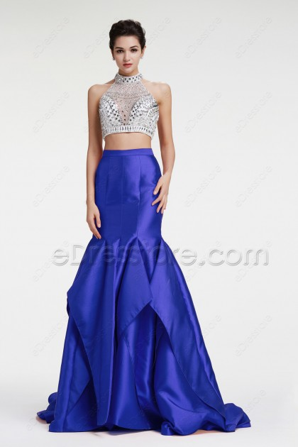 Sparkly Backless Royal BLue Two Piece Prom Dress