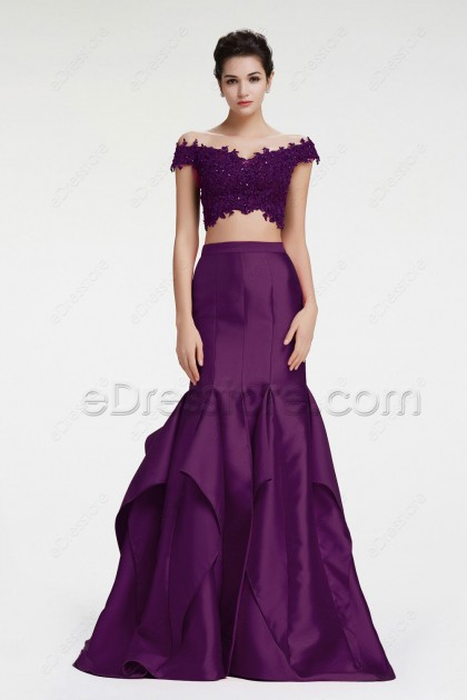 Purple Off the Shoulder Mermaid Two Piece Prom Dress with Slit