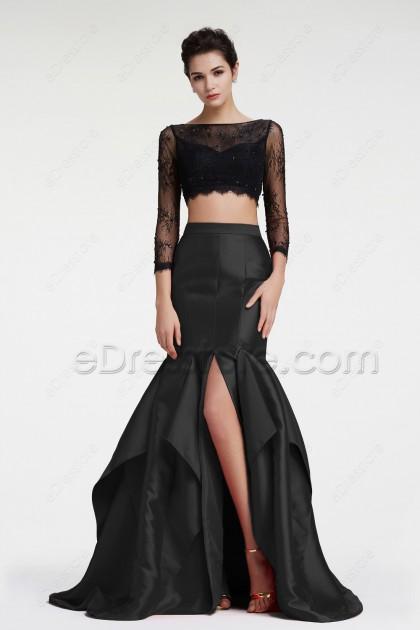 Black Mermaid Two Piece Prom Dress Long Sleeves