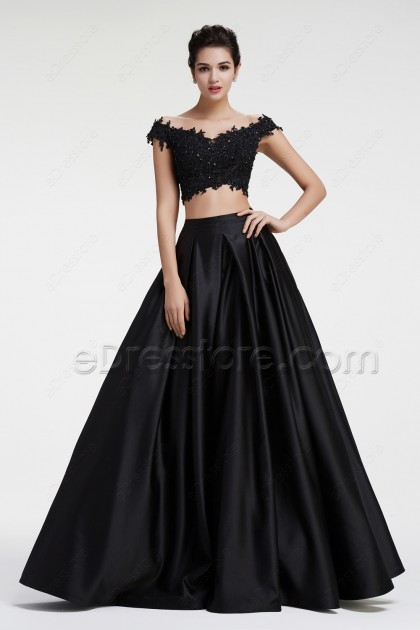 Off the Shoulder Sparkly Beaded Lace Two Piece Prom Dresses
