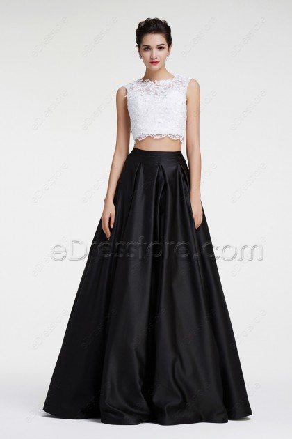 Black and White Two Piece Prom Dresses Ball Gown